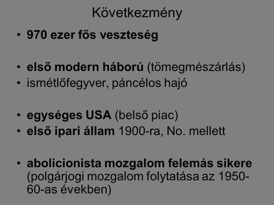 Következmény 970 ezer fős veszteség első modern háború (tömegmészárlás) ismétlőfegyver, páncélos hajó egységes USA (belső piac) első ipari állam 1900-