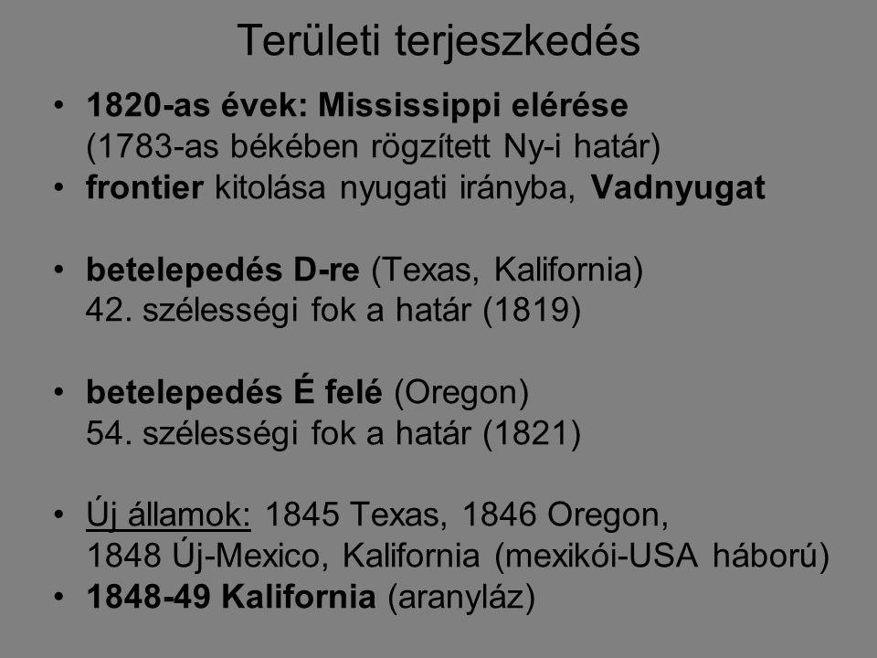 Területi terjeszkedés 1820-as évek: Mississippi elérése (1783-as békében rögzített Ny-i határ) frontier kitolása nyugati irányba, Vadnyugat betelepedé