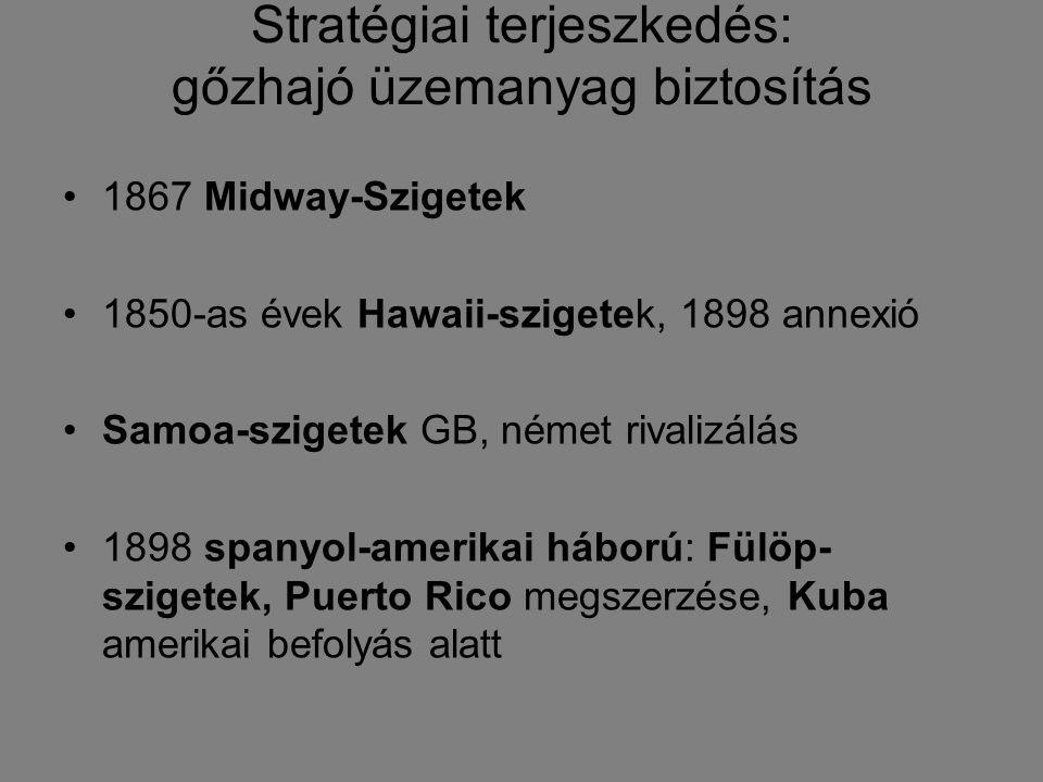 Stratégiai terjeszkedés: gőzhajó üzemanyag biztosítás 1867 Midway-Szigetek 1850-as évek Hawaii-szigetek, 1898 annexió Samoa-szigetek GB, német rivaliz
