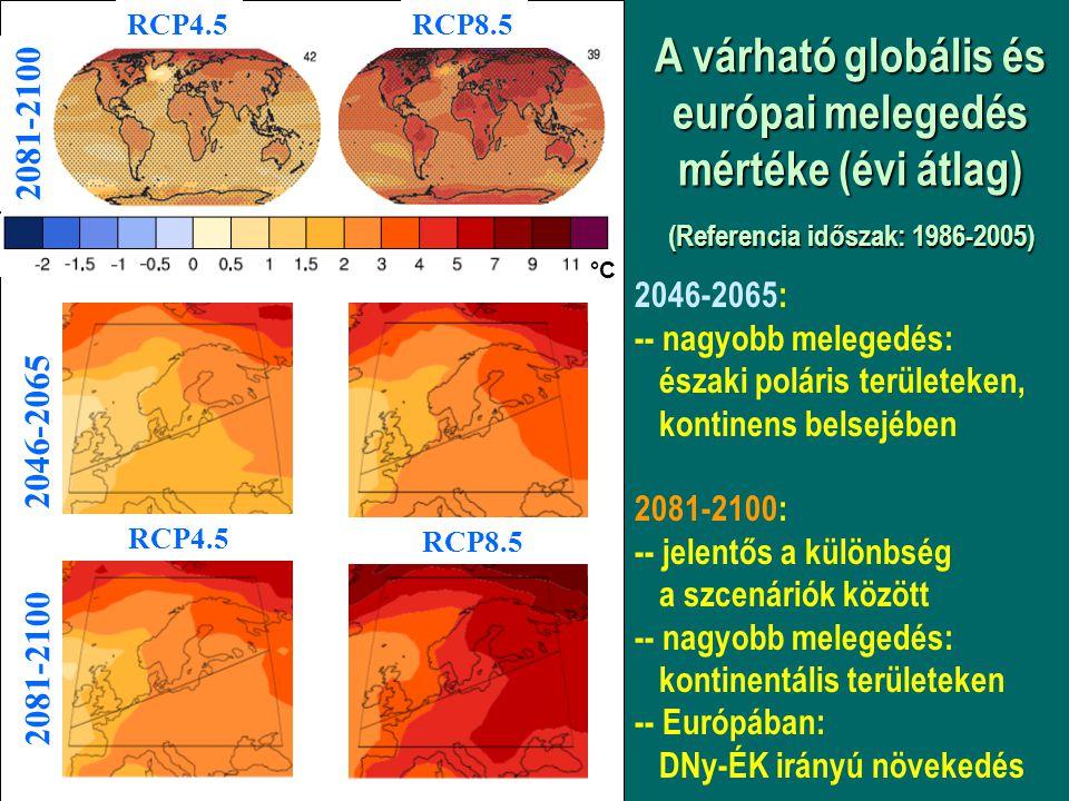 A várható globális és európai melegedés mértéke (évi átlag) (Referencia időszak: 1986-2005) 2046-2065: -- nagyobb melegedés: északi poláris területeke
