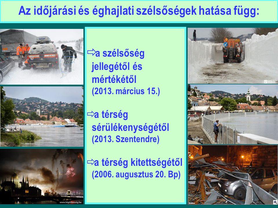  a szélsőség jellegétől és mértékétől (2013. március 15.)  a térség sérülékenységétől (2013. Szentendre)  a térség kitettségétől (2006. augusztus 2