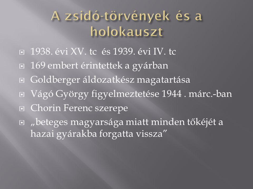  1938. évi XV. tc és 1939. évi IV. tc  169 embert érintettek a gyárban  Goldberger áldozatkész magatartása  Vágó György figyelmeztetése 1944. márc