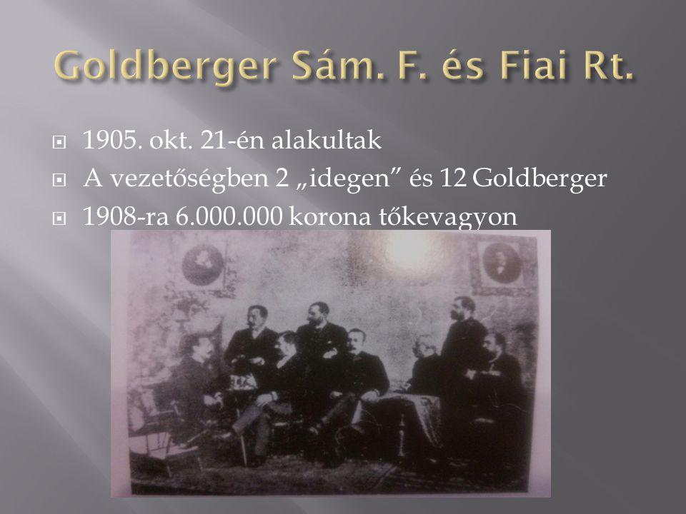 """ 1905. okt. 21-én alakultak  A vezetőségben 2 """"idegen"""" és 12 Goldberger  1908-ra 6.000.000 korona tőkevagyon"""