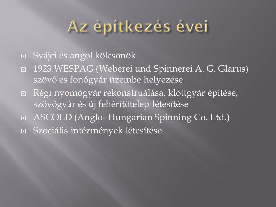 Svájci és angol kölcsönök  1923.WESPAG (Weberei und Spinnerei A. G. Glarus) szövő és fonógyár üzembe helyezése  Régi nyomógyár rekonstruálása, klo