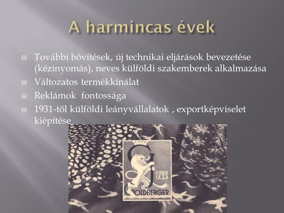  További bővítések, új technikai eljárások bevezetése (kézinyomás), neves külföldi szakemberek alkalmazása  Változatos termékkínálat  Reklámok fontossága  1931-től külföldi leányvállalatok, exportképviselet kiépítése