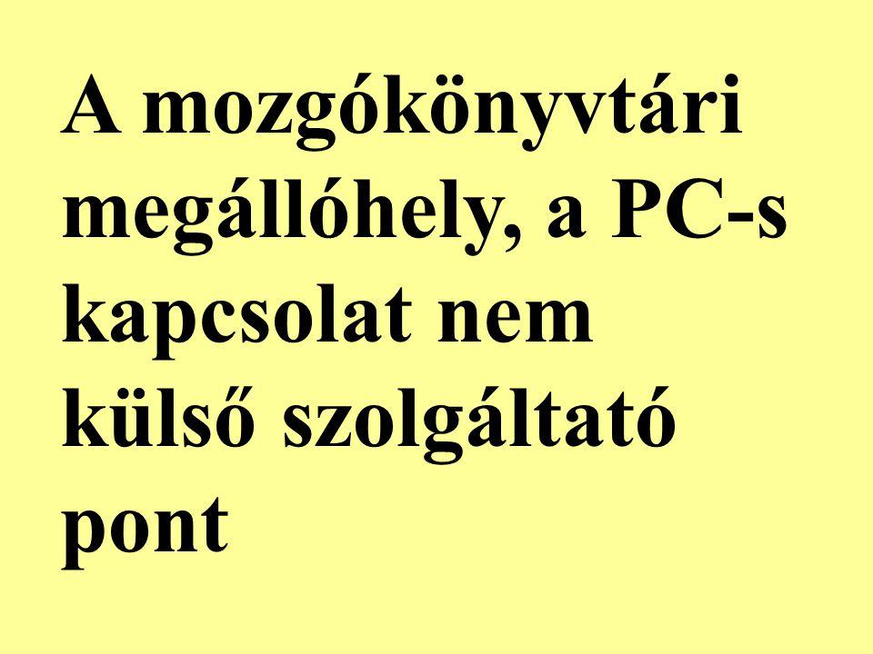 A mozgókönyvtári megállóhely, a PC-s kapcsolat nem külső szolgáltató pont