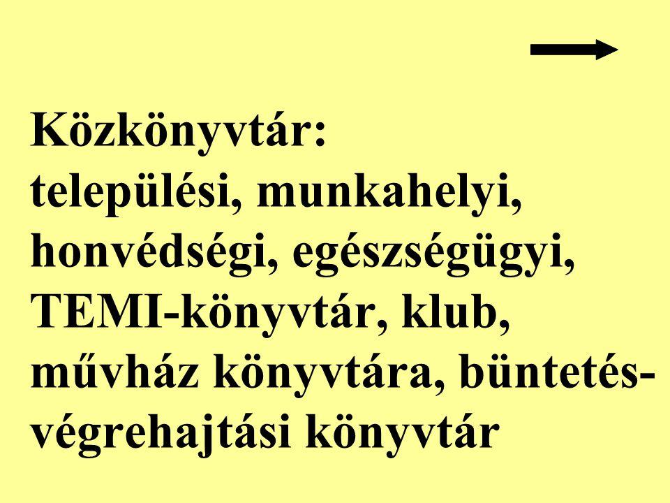 Közkönyvtár: települési, munkahelyi, honvédségi, egészségügyi, TEMI-könyvtár, klub, művház könyvtára, büntetés- végrehajtási könyvtár