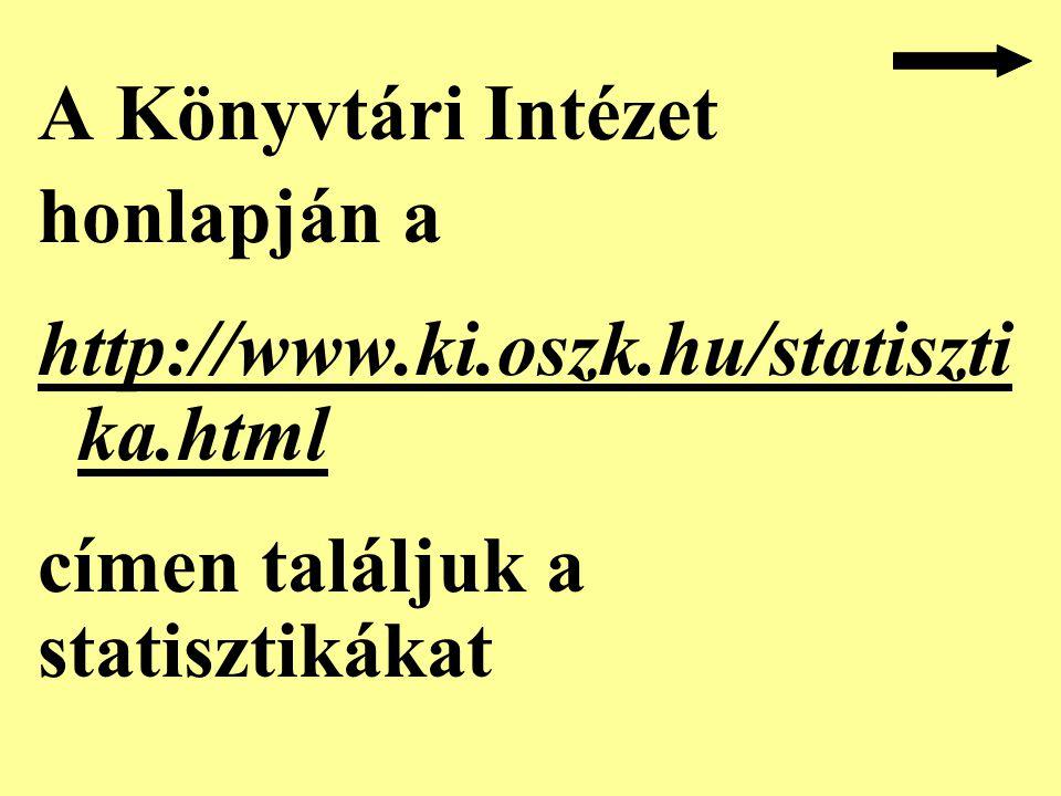 A Könyvtári Intézet honlapján a http://www.ki.oszk.hu/statiszti ka.html címen találjuk a statisztikákat