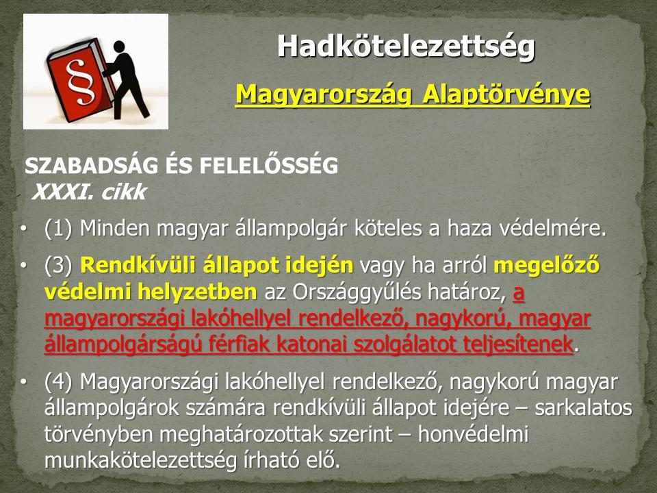 Hadkötelezettség Magyarország Alaptörvénye (1) Minden magyar állampolgár köteles a haza védelmére.