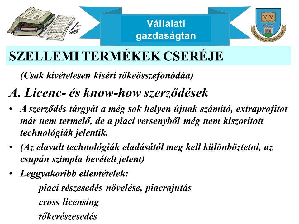 Vállalati gazdaságtan SZELLEMI TERMÉKEK CSERÉJE (Csak kivételesen kíséri tőkeösszefonódáa) A. Licenc- és know-how szerződések A szerződés tárgyát a mé