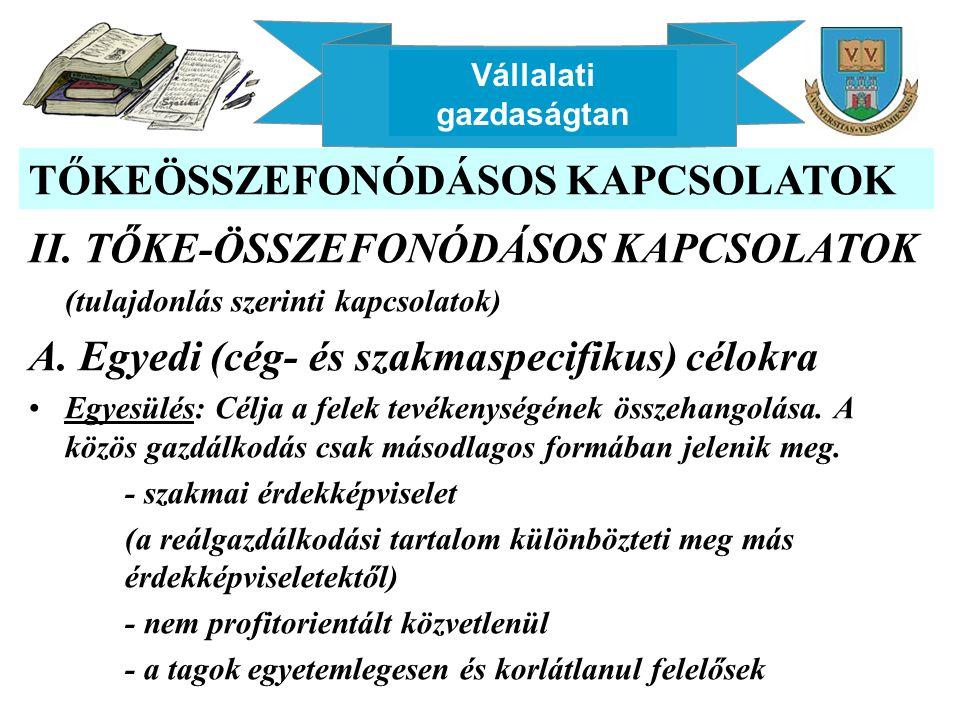 Vállalati gazdaságtan TŐKEÖSSZEFONÓDÁSOS KAPCSOLATOK II. TŐKE-ÖSSZEFONÓDÁSOS KAPCSOLATOK (tulajdonlás szerinti kapcsolatok) A. Egyedi (cég- és szakmas