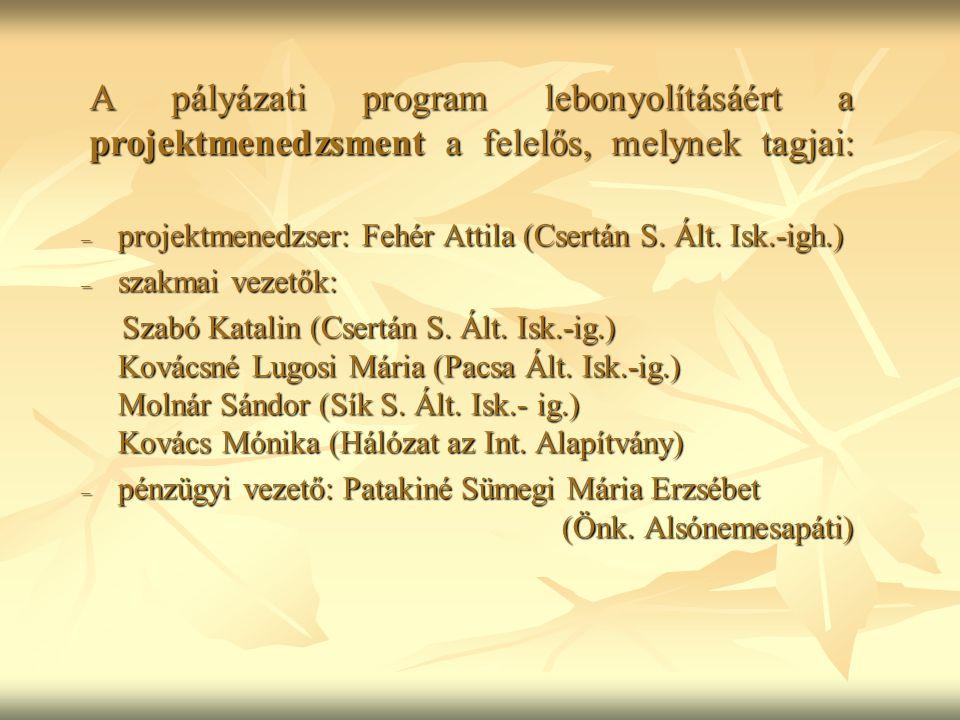 A pályázati program lebonyolításáért a projektmenedzsment a felelős, melynek tagjai: – projektmenedzser: Fehér Attila (Csertán S.