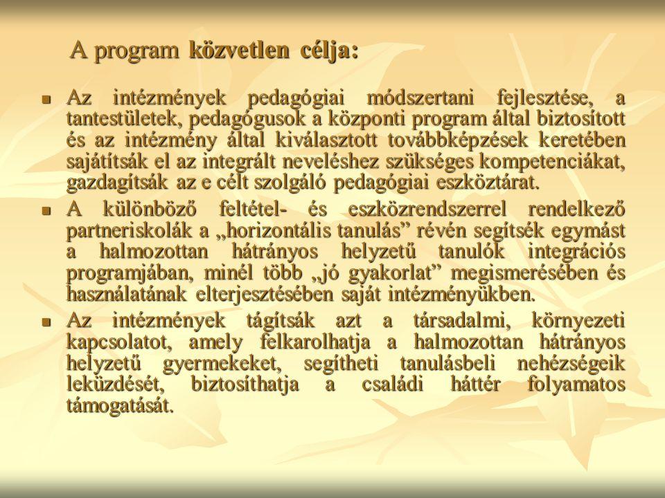 A program közvetlen célja: Az intézmények pedagógiai módszertani fejlesztése, a tantestületek, pedagógusok a központi program által biztosított és az intézmény által kiválasztott továbbképzések keretében sajátítsák el az integrált neveléshez szükséges kompetenciákat, gazdagítsák az e célt szolgáló pedagógiai eszköztárat.