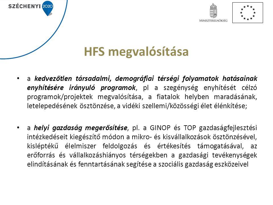 HFS megvalósítása a kedvezőtlen társadalmi, demográfiai térségi folyamatok hatásainak enyhítésére irányuló programok, pl a szegénység enyhítését célzó programok/projektek megvalósítása, a fiatalok helyben maradásának, letelepedésének ösztönzése, a vidéki szellemi/közösségi élet élénkítése; a helyi gazdaság megerősítése, pl.