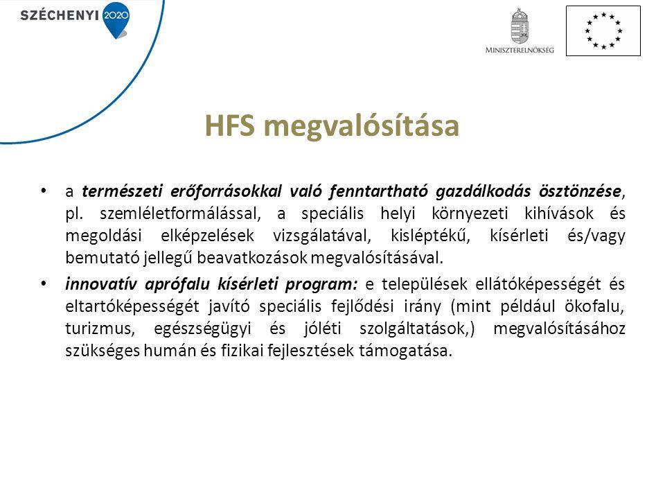 HFS megvalósítása a természeti erőforrásokkal való fenntartható gazdálkodás ösztönzése, pl.