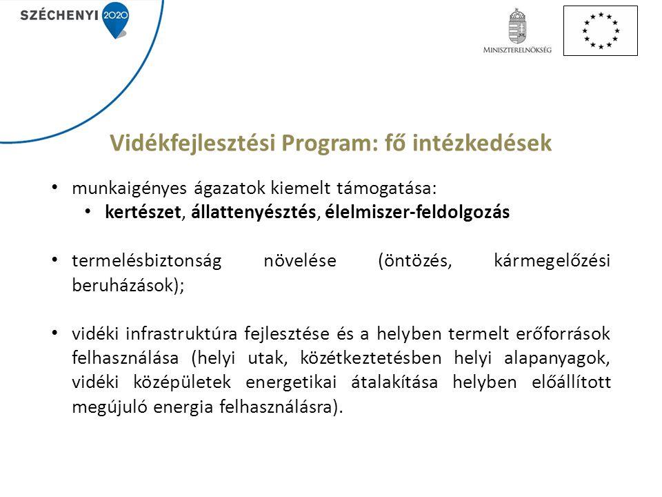 Vidékfejlesztési Program: fő intézkedések munkaigényes ágazatok kiemelt támogatása: kertészet, állattenyésztés, élelmiszer-feldolgozás termelésbiztonság növelése (öntözés, kármegelőzési beruházások); vidéki infrastruktúra fejlesztése és a helyben termelt erőforrások felhasználása (helyi utak, közétkeztetésben helyi alapanyagok, vidéki középületek energetikai átalakítása helyben előállított megújuló energia felhasználásra).