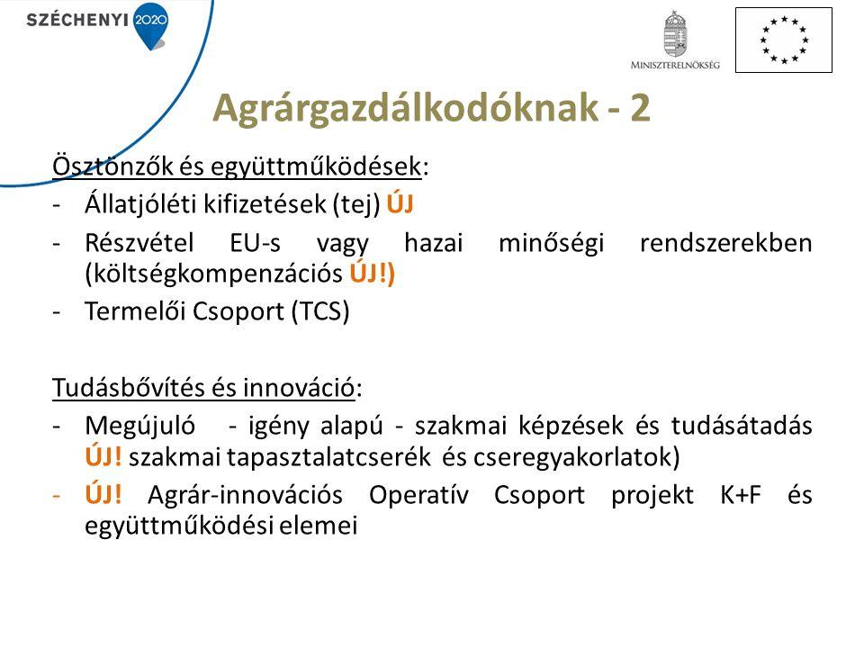 Agrárgazdálkodóknak - 2 Ösztönzők és együttműködések: -Állatjóléti kifizetések (tej) ÚJ -Részvétel EU-s vagy hazai minőségi rendszerekben (költségkompenzációs ÚJ!) -Termelői Csoport (TCS) Tudásbővítés és innováció: -Megújuló - igény alapú - szakmai képzések és tudásátadás ÚJ.