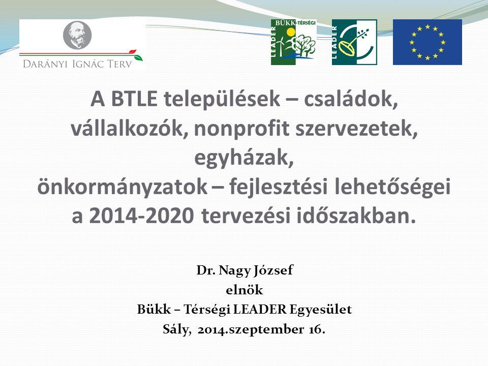 Dr. Nagy József elnök Bükk – Térségi LEADER Egyesület Sály, 2014.szeptember 16.
