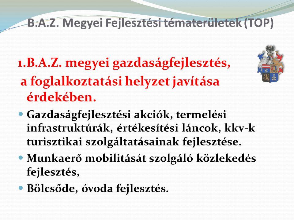 B.A.Z. Megyei Fejlesztési tématerületek (TOP) 1.B.A.Z. megyei gazdaságfejlesztés, a foglalkoztatási helyzet javítása érdekében. Gazdaságfejlesztési ak