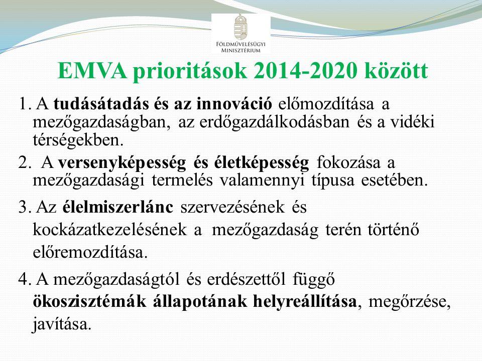 EMVA prioritások 2014-2020 között 1. A tudásátadás és az innováció előmozdítása a mezőgazdaságban, az erdőgazdálkodásban és a vidéki térségekben. 2. A