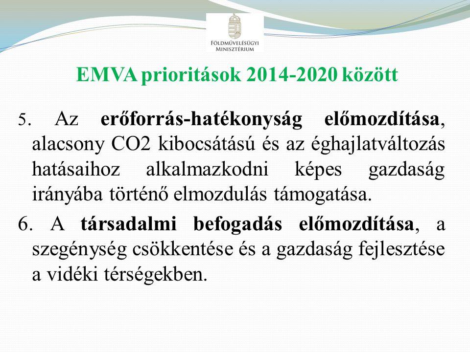 EMVA prioritások 2014-2020 között 5. Az erőforrás-hatékonyság előmozdítása, alacsony CO2 kibocsátású és az éghajlatváltozás hatásaihoz alkalmazkodni k