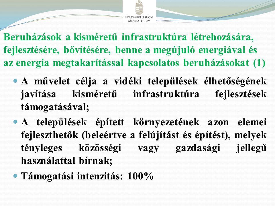 Beruházások a kisméretű infrastruktúra létrehozására, fejlesztésére, bővítésére, benne a megújuló energiával és az energia megtakarítással kapcsolatos