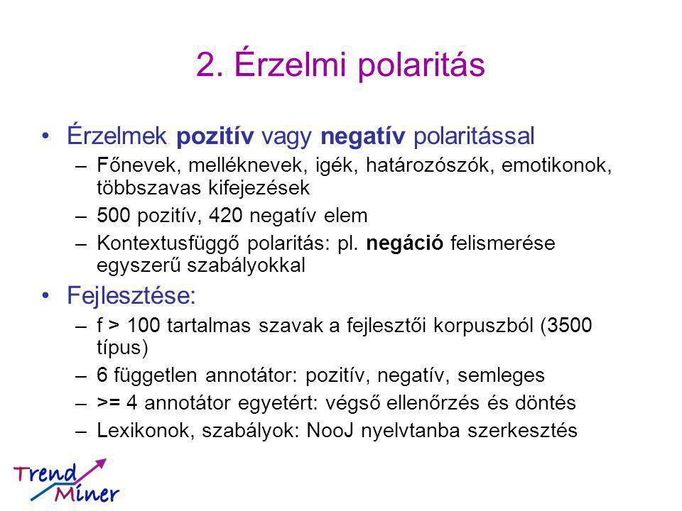 2. Érzelmi polaritás Érzelmek pozitív vagy negatív polaritással –Főnevek, melléknevek, igék, határozószók, emotikonok, többszavas kifejezések –500 poz