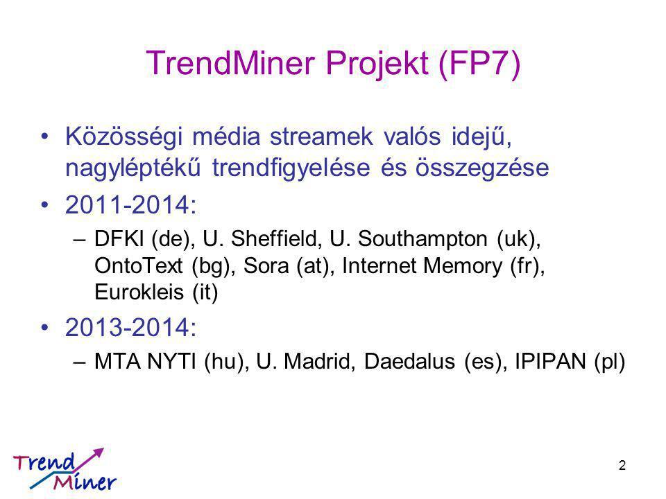 """TrendMiner 2011-2014 Twitter streamek valós idejű követése –Felhőalapú architektúra; nem tárol minden üzenetet Entitások felismerése és ontológiához kapcsolása, több nyelven –"""" Wikification / egyértelműsítés (Dbpedia) Összegzés (summarization) –Többnyelvű spektrális klaszterezés, reprezentáns választása Trendfigyelés –Gépi tanulás: SM üzenetek + valós idősorozatok modellezése Vizualizációs UI Use Cases –Pénzügyi folyamatok –Politikai események –Gyógyszerek és hatóanyagok a SM-ban 3"""