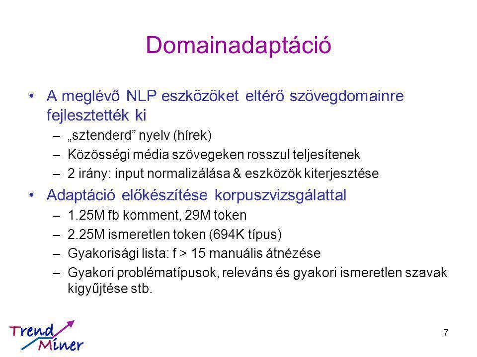 """Domainadaptáció A meglévő NLP eszközöket eltérő szövegdomainre fejlesztették ki –""""sztenderd nyelv (hírek) –Közösségi média szövegeken rosszul teljesítenek –2 irány: input normalizálása & eszközök kiterjesztése Adaptáció előkészítése korpuszvizsgálattal –1.25M fb komment, 29M token –2.25M ismeretlen token (694K típus) –Gyakorisági lista: f > 15 manuális átnézése –Gyakori problématípusok, releváns és gyakori ismeretlen szavak kigyűjtése stb."""