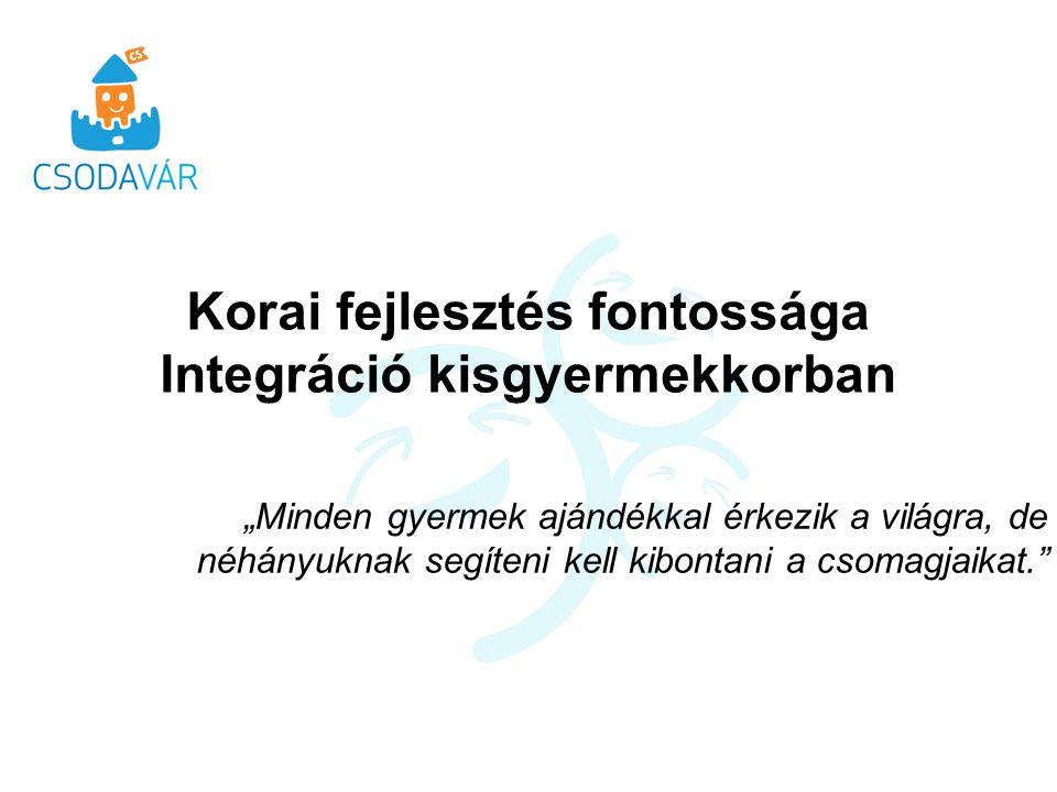 Komplex koragyermekkori intervenció (15/3013 EMMI) Komplex diagnosztika Szakmaközi kommunikáció - teammunka Egyénre szabott fejlesztő terápiák Tanácsadás Családgondozás Utánkövetés - A későbbi társadalmi inklúzió előkészítése Tudásbázis kialakítása