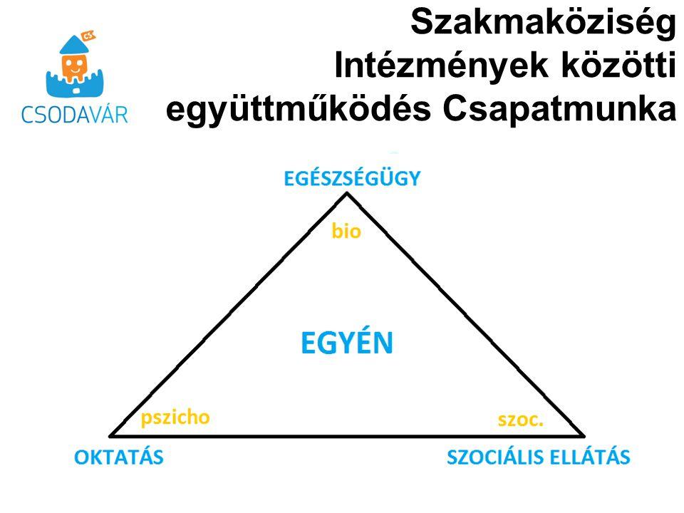 Feladatok Horizontális és vertikális együttműködés a komplex folyamatban a hármas egység figyelembevételével »Diagnosztika »Fejlesztés »Családgondozás Szakmaközi Tudásbázis Információs rendszer A gyermekek megfelelő fejlődését támogató és akadályozó tényezők felismerése, beavatkozás lehetőségei