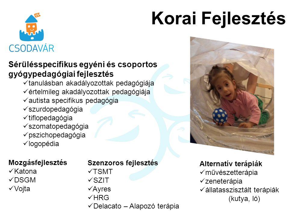 Korai Fejlesztés Sérülésspecifikus egyéni és csoportos gyógypedagógiai fejlesztés tanulásban akadályozottak pedagógiája értelmileg akadályozottak pedagógiája autista specifikus pedagógia szurdopedagógia tiflopedagógia szomatopedagógia pszichopedagógia logopédia Mozgásfejlesztés Katona DSGM Vojta Szenzoros fejlesztés TSMT SZIT Ayres HRG Delacato – Alapozó terápia Alternatív terápiák művészetterápia zeneterápia állatasszisztált terápiák (kutya, ló)