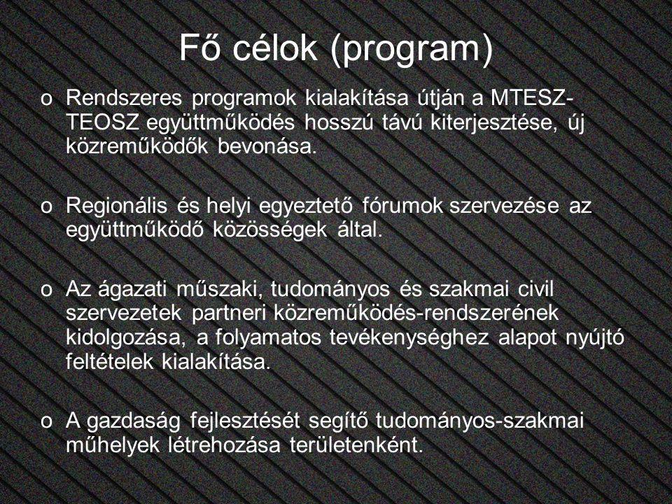 Fő célok (program) oRendszeres programok kialakítása útján a MTESZ- TEOSZ együttműködés hosszú távú kiterjesztése, új közreműködők bevonása. oRegionál