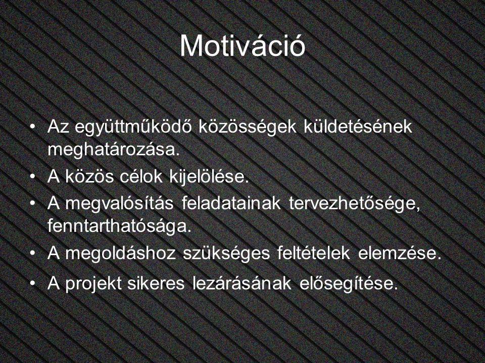 Motiváció Az együttműködő közösségek küldetésének meghatározása. A közös célok kijelölése. A megvalósítás feladatainak tervezhetősége, fenntarthatóság