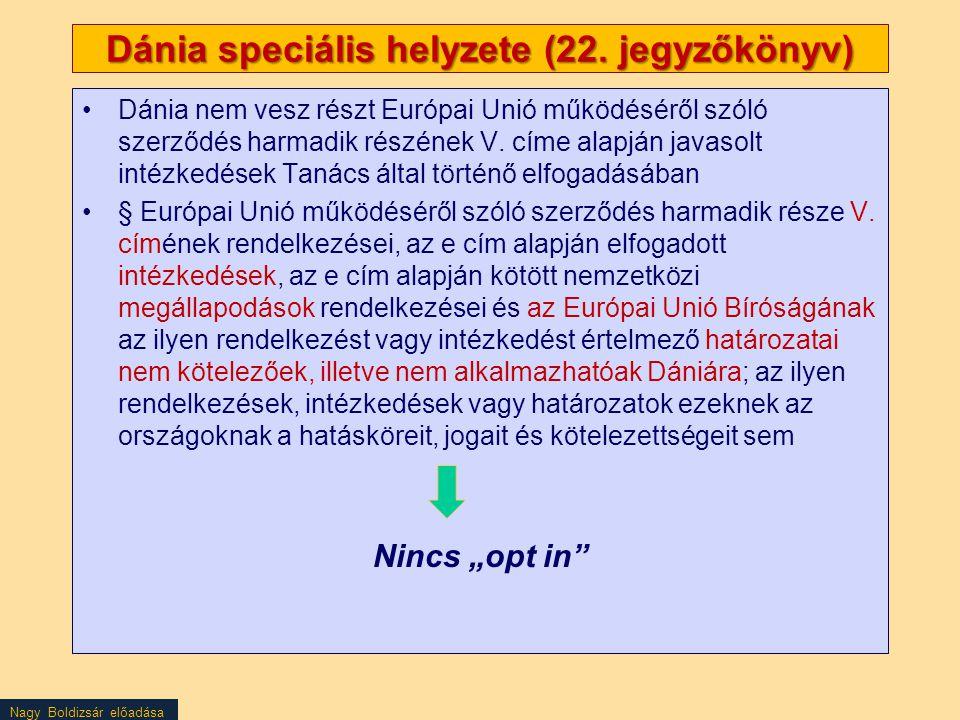 Nagy Boldizsár előadása Dánia speciális helyzete (22. jegyzőkönyv) Dánia nem vesz részt Európai Unió működéséről szóló szerződés harmadik részének V.