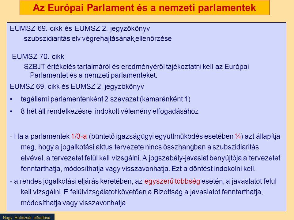 Nagy Boldizsár előadása Az Európai Parlament és a nemzeti parlamentek EUMSZ 69. cikk és EUMSZ 2. jegyzőkönyv szubszidiaritás elv végrehajtásának ellen