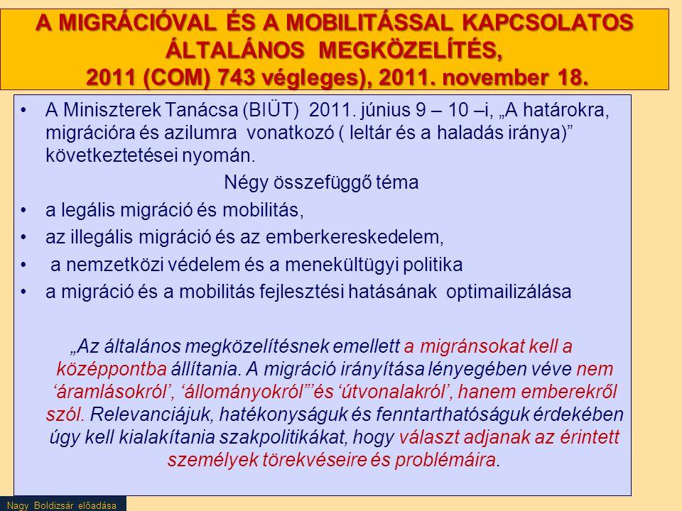 Nagy Boldizsár előadása A MIGRÁCIÓVAL ÉS A MOBILITÁSSAL KAPCSOLATOS ÁLTALÁNOS MEGKÖZELÍTÉS, 2011 (COM) 743 végleges), 2011. november 18. A Miniszterek