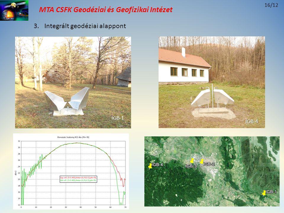 MTA CSFK Geodéziai és Geofizikai Intézet 3.Integrált geodéziai alappont 16/12 IGB-1 IGB-4