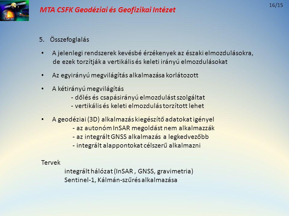 MTA CSFK Geodéziai és Geofizikai Intézet 5.Összefoglalás A jelenlegi rendszerek kevésbé érzékenyek az északi elmozdulásokra, de ezek torzítják a verti