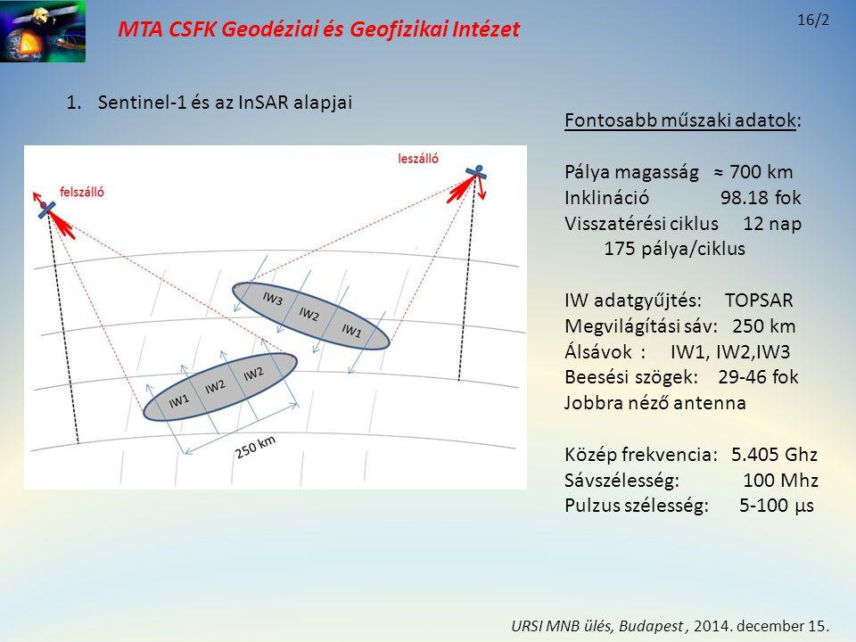 MTA CSFK Geodéziai és Geofizikai Intézet 1.Sentinel-1 és az InSAR alapjai Nyers adatok feldolgozása: Azimut irányban: fókuszálás Távolság irányban: tömörítés ⇩ SLC kép sík Elektronikai felbontási cella: 5 x 20 m Pixel kép felbontás: 2.3 x 17.4 m Pixel információ: Komplex szám I,Q (amplitúdó és fázis) ⇩ Georeferálás: GRD vetületi képsík (csak amplitúdó kép) 16/3 URSI MNB ülés, Budapest, 2014.