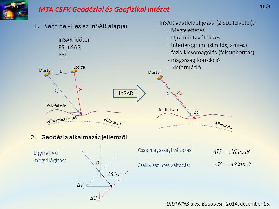 MTA CSFK Geodéziai és Geofizikai Intézet 5.Összefoglalás A jelenlegi rendszerek kevésbé érzékenyek az északi elmozdulásokra, de ezek torzítják a vertikális és keleti irányú elmozdulásokat Az egyirányú megvilágítás alkalmazása korlátozott A kétirányú megvilágítás - dőlés és csapásirányú elmozdulást szolgáltat - vertikális és keleti elmozdulás torzított lehet A geodéziai (3D) alkalmazás kiegészítő adatokat igényel - az autonóm InSAR megoldást nem alkalmazzák - az integrált GNSS alkalmazás a legkedvezőbb - integrált alappontokat célszerű alkalmazni Tervek integrált hálózat (InSAR, GNSS, gravimetria) Sentinel-1, Kálmán-szűrés alkalmazása 16/15