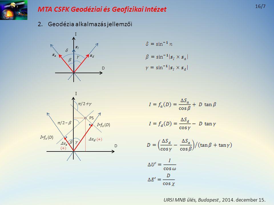 MTA CSFK Geodéziai és Geofizikai Intézet D I γ β π/2+γ π/2‒ β Δs d (+) Δs a (+) I =f d (D) I =f a (D) PS D I sIsI sasa sdsd γ β δ 2.Geodézia alkalmazá