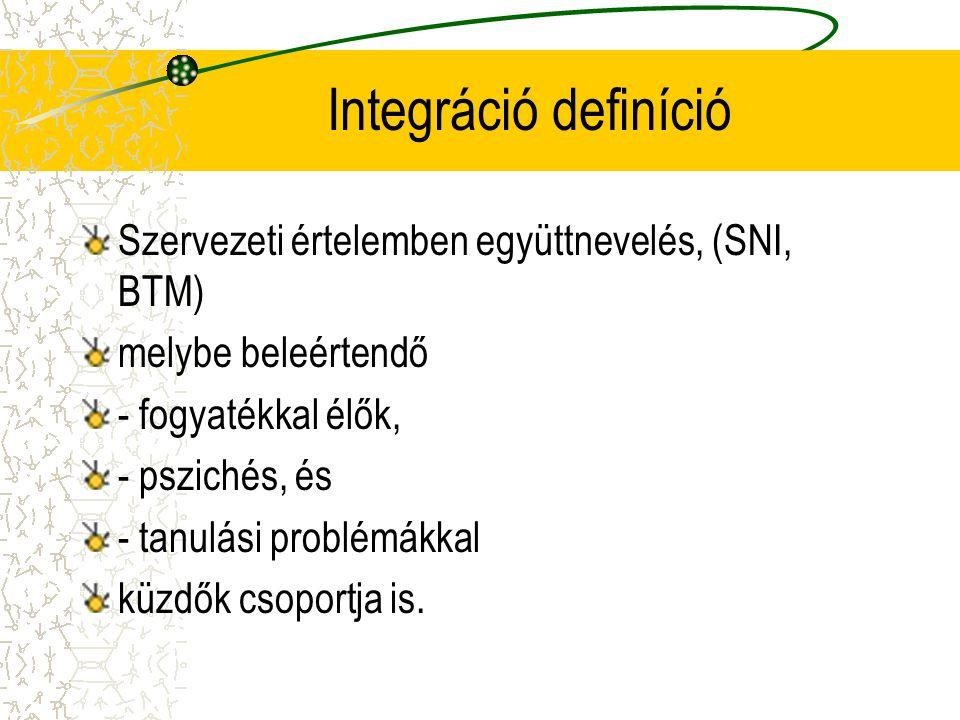 Integráció definíció Szervezeti értelemben együttnevelés, (SNI, BTM) melybe beleértendő - fogyatékkal élők, - pszichés, és - tanulási problémákkal küz