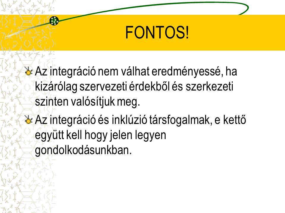 FONTOS! Az integráció nem válhat eredményessé, ha kizárólag szervezeti érdekből és szerkezeti szinten valósítjuk meg. Az integráció és inklúzió társfo
