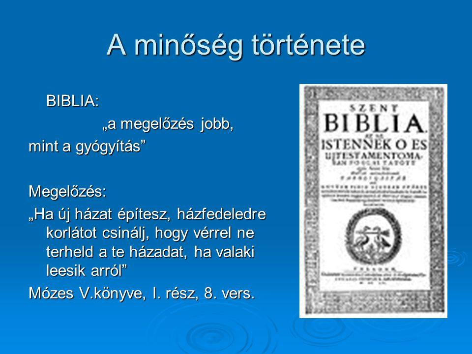 """A minőség története BIBLIA: """"a megelőzés jobb, """"a megelőzés jobb, mint a gyógyítás"""" Megelőzés: """"Ha új házat építesz, házfedeledre korlátot csinálj, ho"""