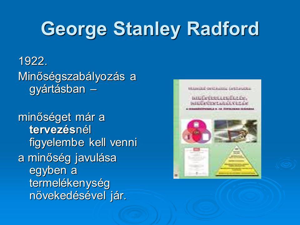 George Stanley Radford 1922. Minőségszabályozás a gyártásban – minőséget már a tervezésnél figyelembe kell venni a minőség javulása egyben a termeléke