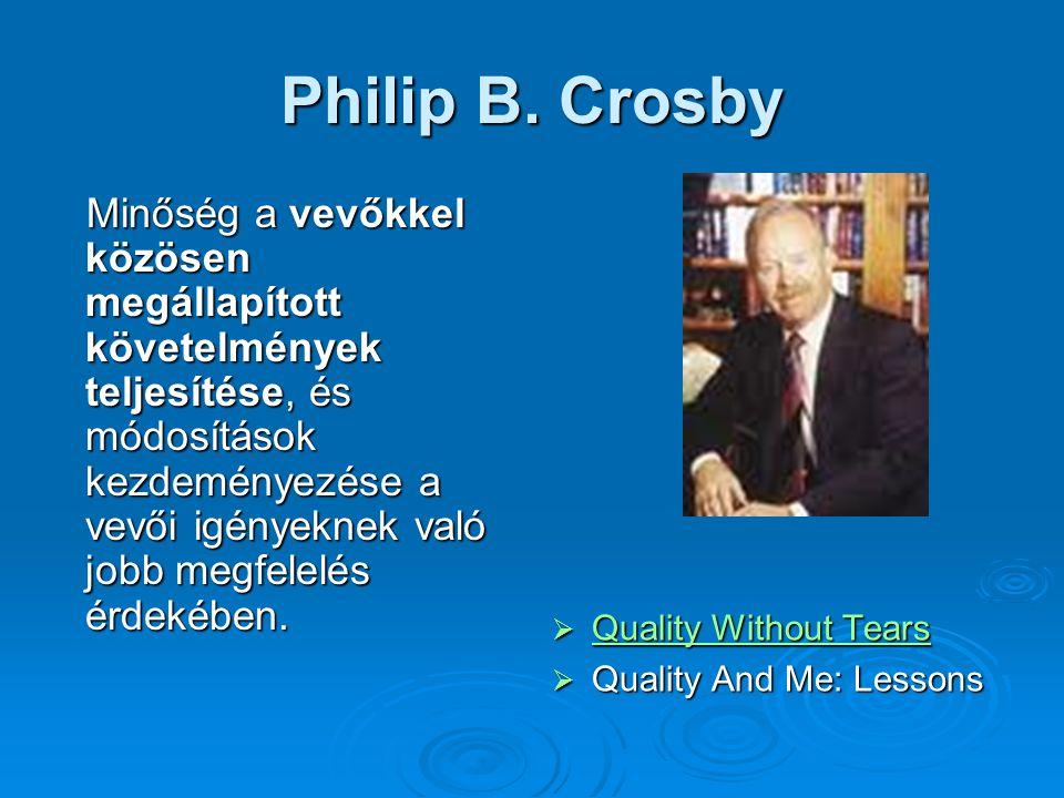Philip B. Crosby Minőség a vevőkkel közösen megállapított követelmények teljesítése, és módosítások kezdeményezése a vevői igényeknek való jobb megfel