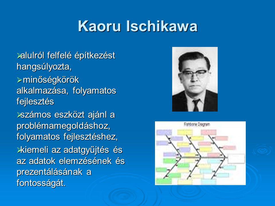 Kaoru Ischikawa  alulról felfelé építkezést hangsúlyozta,  minőségkörök alkalmazása, folyamatos fejlesztés  számos eszközt ajánl a problémamegoldás