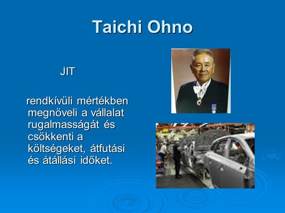 Taichi Ohno JIT JIT rendkívüli mértékben megnöveli a vállalat rugalmasságát és csökkenti a költségeket, átfutási és átállási időket. rendkívüli mérték