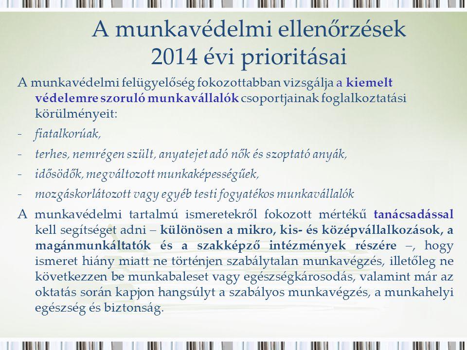 A munkavédelmi ellenőrzések 2014 évi prioritásai A munkavédelmi felügyelőség fokozottabban vizsgálja a kiemelt védelemre szoruló munkavállalók csoport